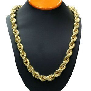 """14k Gold 14mm 36"""" Thick Rope Chain"""